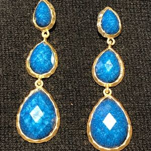 Amrita Singh faux gold and lapis blue earrings
